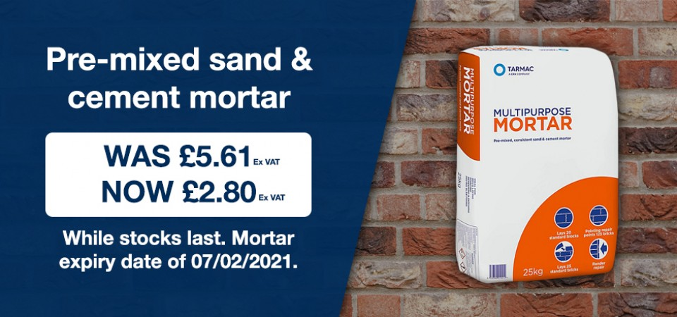 Pre Mixed Sand & Cement Mortar Promotional Offer. Now £2.80 + VAT