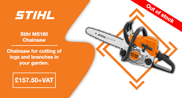 Stihl MS180 chainsaw for garden logs and branches