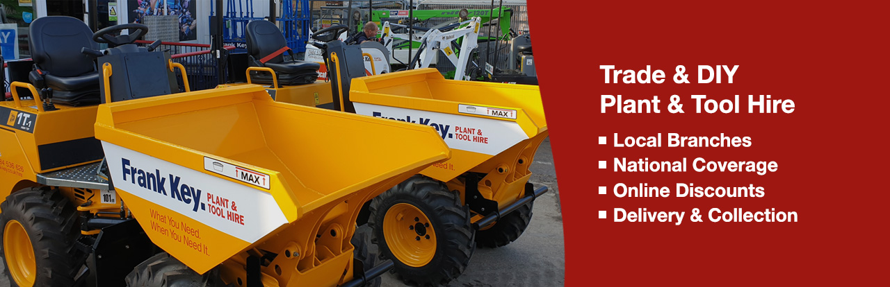 Frank Key Tool Hire Header Banner. Local Branches. National Coverage. Online Discounts. Delivery & Collection.