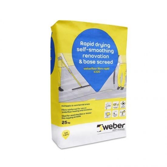 Weberfloor Fibre Flow Rapid 4320 Floor Leveling Screed Compound 5-50mm Depth