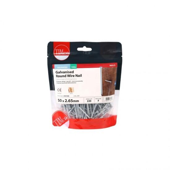 65 x 2.65mm Galvanised Round Wire Nails 2.5kg