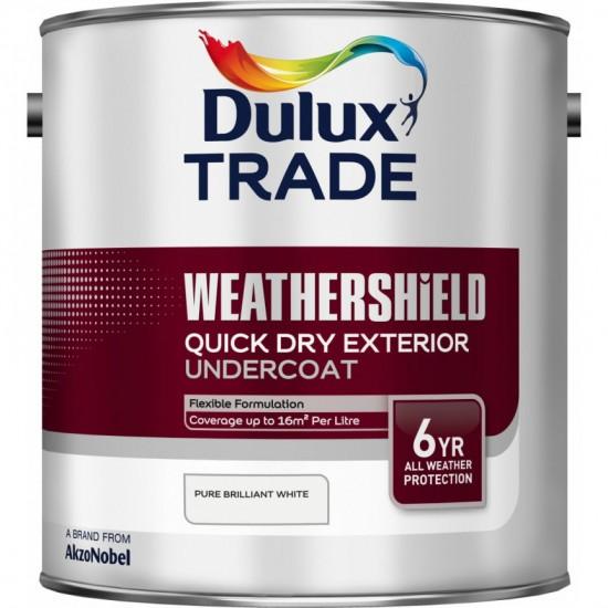 Dulux Trade Weathershield Exterior Quick Dry Undercoat Paint - Pure Brilliant White - 2.5L