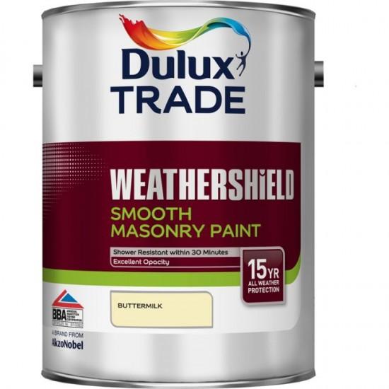 Dulux Trade Weathershield Smooth Masonry Paint - Buttermilk - 5L