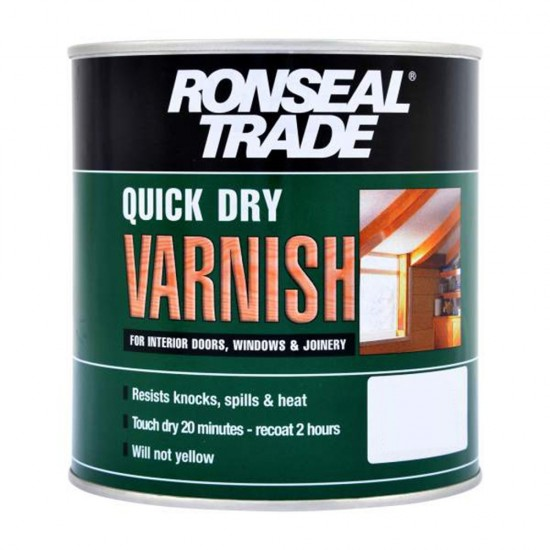 Ronseal Trade Quick Dry Interior Varnish Clear Satin 750mm