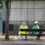 Builders on bench